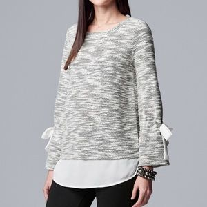 SIMPLY VERA WANG Bow Accent Mock-Layer Sweater